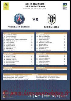 Feuille de match  PSG-Angers  2018-19
