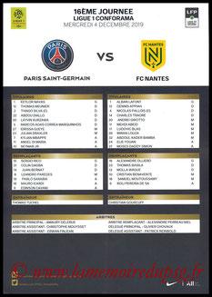 Feuille de match  PSG-Nantes  2019-20