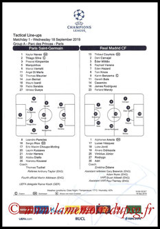 Feuille de match  PSG-Real Madrid  2019-20