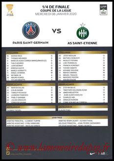 Feuille de match  PSG-Saint Etienne  2019-20