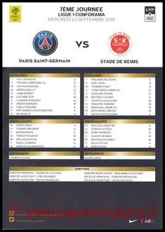 Feuille de match  PSG-Reims  2019-20