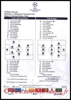 Feuille de match  PSG-Bruges  2019-20