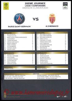 Feuille de match  PSG-Monaco  2019-20