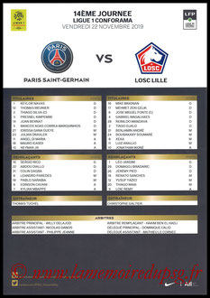 Feuille de match  PSG-Lille  2019-20