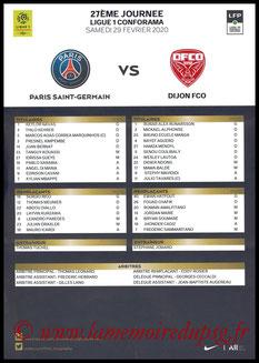 Feuille de match  PSG-Dijon  2019-20