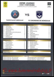 Feuille de match  PSG-Bordeaux  2019-20