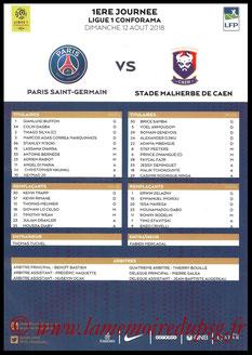Feuille de match  PSG-Caen  2018-19