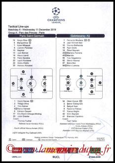 Feuille de match  PSG-Galatasaray  2019-20