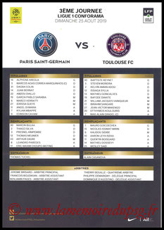 Feuille de match  PSG-Toulouse  2019-20