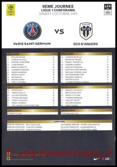 Feuille de match  PSG-Angers  2019-20