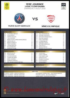 Feuille de match  PSG-Nimes  2019-20