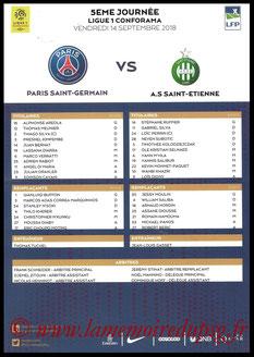 Feuille de match  PSG-Saint Etienne  2018-19