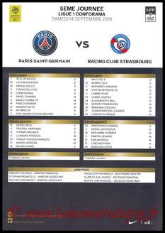 Feuille de match  PSG-Strasbourg  2019-20
