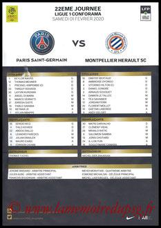 Feuille de match  PSG-Montpellier  2019-20