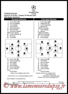 Feuille de match  Borussia Dortmund-PSG  2019-20