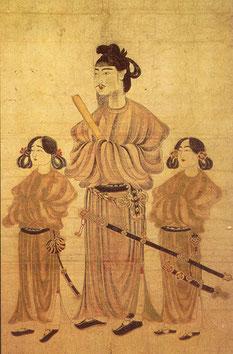 809ab7d32 O Príncipe Shotoku e dois de seu filhos: penteados, túnicas e acessórios de  forte