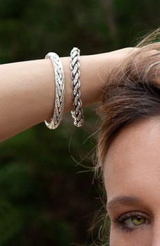 bracelet tresse en argent patiné fait main