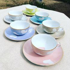 Tentation Tasse thé ronde Rose 80 et or Nara Porcelaine peinte à la main