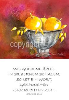 goldene Äpfel in silbernen Schalen
