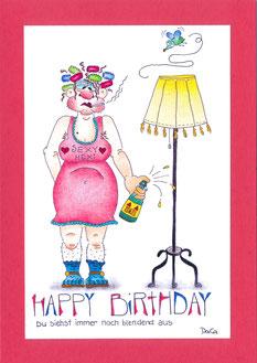 lustige Geburtstagskarte Frau mit Bier