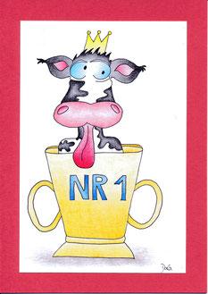 lustige Geburtstagskarte Kuh im Pokal