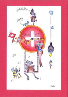 lustige Grusskarte Tiere Uhr