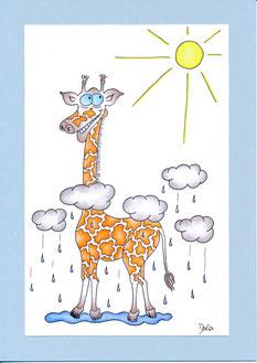 lustige Geburtstagskarte Giraffe Sonne