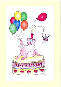 lustige Geburtstagskarte Schwein auf Torte