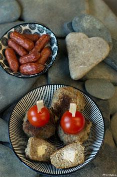 Salami und gefüllte Frikadellen