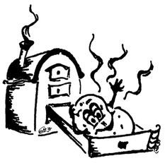 Zeichnung - Kompirofen mit Kartoffel (Karikatur)