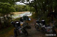 Neuseeland - Motorrad - Reise - Camping am Cascade Creek