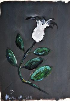 Ölbild Blume Weiß Künstler August