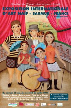 Tableau sur le thème du cirque, LES ARTISTES DE CIRQUE, huile sur toile 116x89cm, signé CF.