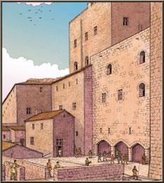 1ère basse-cour, Château des Baux-de-Provence, Alpilles (13) - gravure panneau château