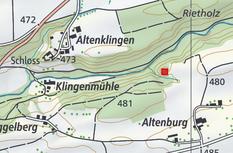 Standort der Altenburg, rund 600 m vom heutigen Schloss Altenklingen entfernt