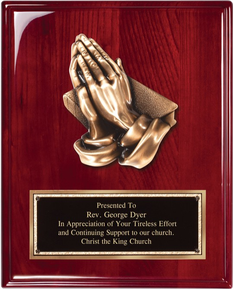 "8"" x 10"" Rosewood piano finish plaque with antique bronze praying hands casting and black engraving plate."