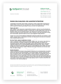 """Grafik: Preview PDF """"PASSIV GELD ANLEGEN: DIE LANGFRIST-STRATEGIE"""" - NEWS von Wulfgramm Konzept   unabhängige Honorar Finanzanlagenberatung für Ärzte"""