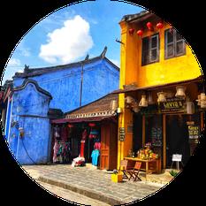 Blick auf Gebäude von Hoi An, einer Hafenstadt in der Mitte Vietnams