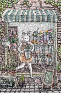 花屋の店先 ボード・ペン・色鉛筆 13.8x9cm 43,200円