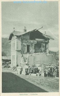 Der zerstörte Bahnhof Most na Soci / Santa Luzia im September 1915. Postkarte. Sammlung www.Isonzofront.de