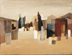 Claude Delessert, peintre vaudois, le village rouge, exposition tableaux, galerie, neuffer antiquites, galerie neuffer Lausanne