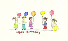 Grußkarte Kindergeburtstag Luftballons