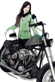 バイク女子イラスト絵