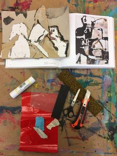 Material-Collage in der museumseigenen werk.statt  Foto: Museum Lothar Fischer