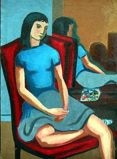 Margrit Schweicher, Trier. Frau im Spiegel. Ölgemälde,Malerei Trier, Trierer Malerei, Kunst, 50er Jahre