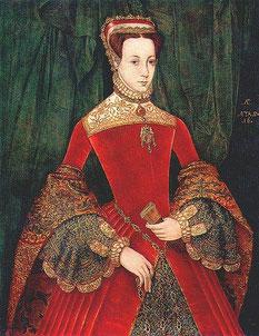 Mary Fitzalan trägt einen FLAT HOOD, 1565 (flickr, picture by Lisby) elisabethanische Mode Tudor Kleidung