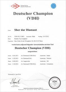 """Russkischer Toy- Urkunde """"DEUTSCHER CHAMPION (VDH)""""   2014"""