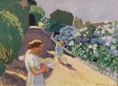 Maurice Denis, Malon et les hortensias, 1920, huile sur carton, collection musée des beaux-arts de Brest métropole