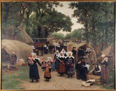 Théophile Deyrolle, L'arrivée du pardon à Fouesnant, 1892, huile sur toile, dépôt du musée de Pau au musée des beaux-arts de Brest métropole.