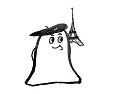 Glockenmännchen: Franzose mit Mütze, im Hintergrund der Eiffelturm. Zeichnung von Claudia Pichler Mediation Salzburg
